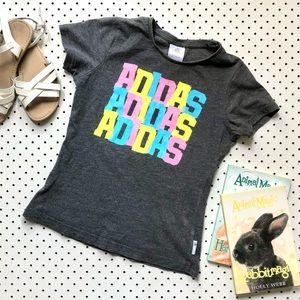 Girls size 10 ADIDAS grey logo tee, 100% cotton short sleeve tshirt, pink print